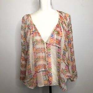 """Free People """"Free One"""" sheer floral blouse Size S"""